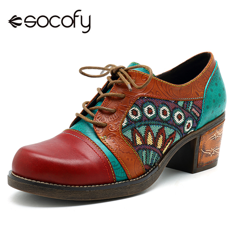 все цены на Socofy Bohemian Patchwork Ankle Pumps Women Shoes Classic Vintage Genuine Leather Shoes Spring Lace Up Plus Size Block Heels New
