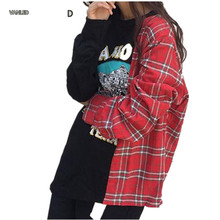 2017 Fashion Plaid Spliced Letters Print Casual Women Long Sleeve Pullover