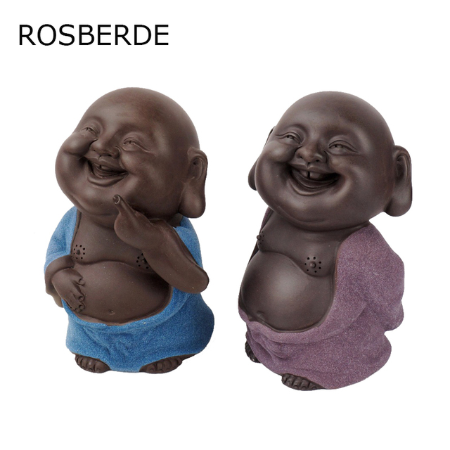 Dropship Ceramic Buddha Statue Purple Painted Pottery Tea Pet Home Decor  Decoration Small Monk Home Garden