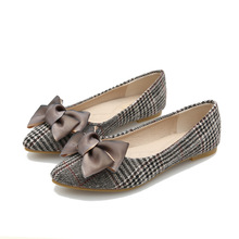 Spring/Autumn New Elegant Women Shoes Flats Fashion Butterfly-knot Shoes Woman Loafers Boat Shoes Pointed Slip-On Plus Size 43