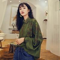 MUMUZI Long Sleeve Patchwork Shirts Spring Casual Loose Retro Blouses Women Green Blouses Female Top vetement femme 2019