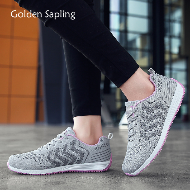 Golden Sapling Soft Rubber Lady Sneakers Breathable Mesh Gray Pink Women Running Shoes Comfortable Trainers Women