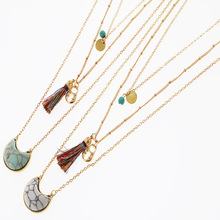 Bohemia Multilayer Tassel Pendant Necklaces Women Vintage  Link Chain Necklaces for Women