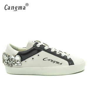 Image 2 - Женские повседневные кроссовки CANGMA со стразами, женские белые кроссовки со стразами, стильная женская обувь