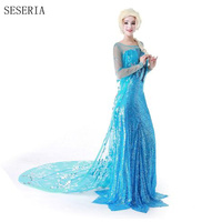 SESERIA High Quality Adult Elsa Snow Queen Princess Elsa Cosplay Costume Halloween Costumes For Women Party