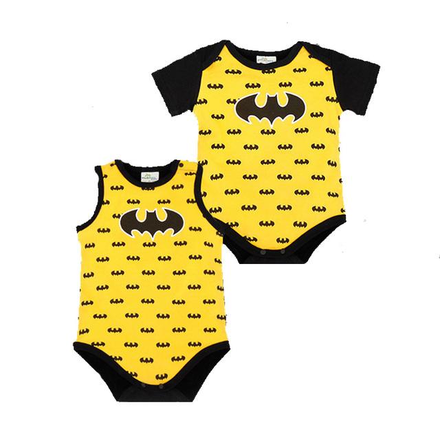 2016 Nova Macacão de Bebê de Verão Estrelas Bat Herói Impressão Roupas para Recém-nascidos de Desenhos Animados de Algodão das Crianças de Manga Curta/Mangas macacão