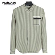 No.1 dara Men Shirt 2018 Green White Stripes Mens Long-Sleeved Dress MenS Business Casual Slim Lapel Male Quality