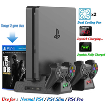 For PS4/PS4 Slim/PS4 Pro Vertical Console Cooling Fan Dualshock 4 Controller Charger Game Disk Storage Stand Base Indicate Led