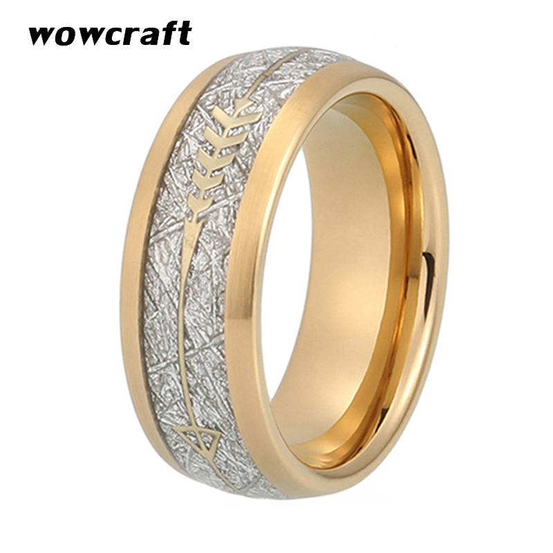 8mm New Cool Gold Mens Tungsten Carbide Ring Womens Wedding Band Meteorite Gold Arrow Inlay Comfort Fit 1