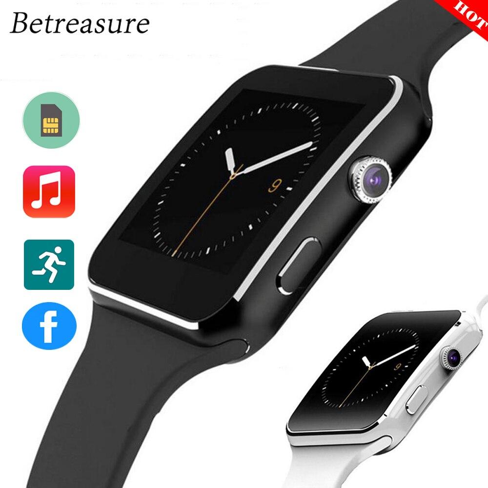 Betreasure HEIßER X6 Smart Uhr Bluetooth Kamera Mit 8g SIM/TF Karte SmartWatch Für Android IOS Telefon PK a1 GT08 Uhr