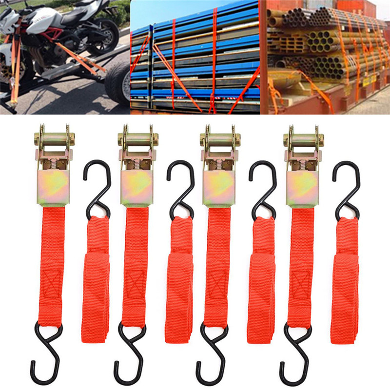 4pcs Ratchet Tie Down Cargo Straps Moving Hauling Truck Motorcycle with Alloy buckle Auto Car Styling Car Accessories Camping