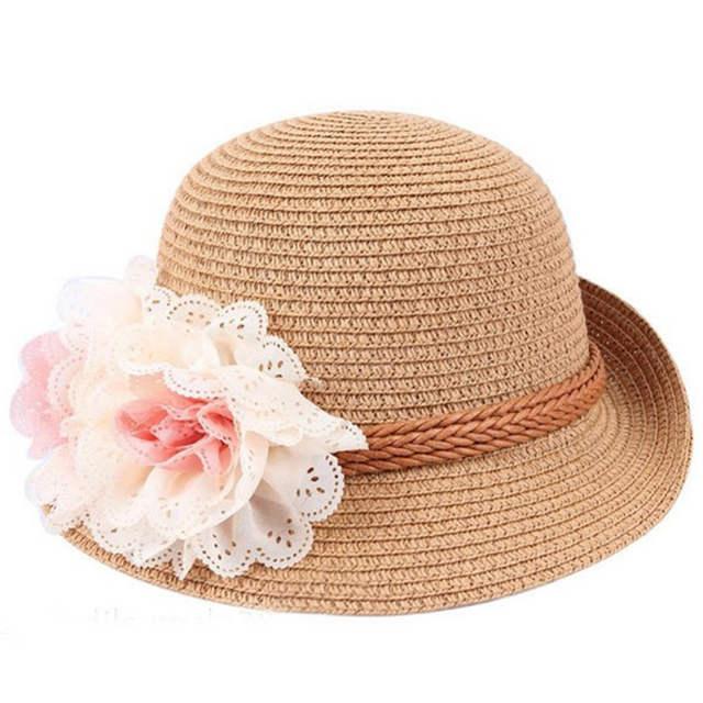 61041611 2017 New Summer Kids Floral Straw Hats Fedora Hat Children Visor Beach Sun  Baby Girls Sunhat