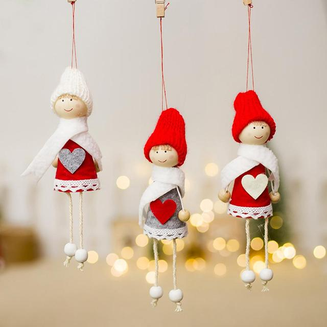 2018 new christmas decoration pendants outside christmas tree hanging ornaments xmas mini small christmas doll for - Small Christmas Ornaments