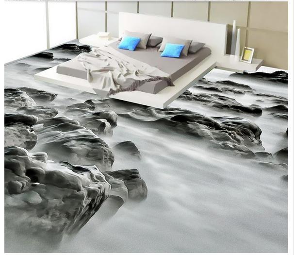 ФОТО Custom photo Waterproof floor wallpaper The beach rock landscape fashion 3d mural PVC wallpaper self-adhesion floor wallpaer