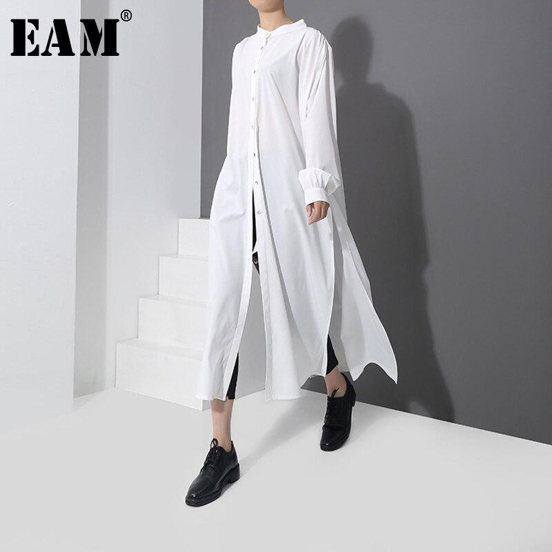 [EAM] 2019 Herbst Neue Mode Neue Muster Lange Typ Seite Vent Taste Hemd Langarm Temperament Bluse Frauen YC170
