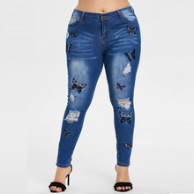 NEW Ripped hole fashion Jeans Women High Waist skinny pencil Denim Pants Elastic Stretch butterfly embroidery sexy women