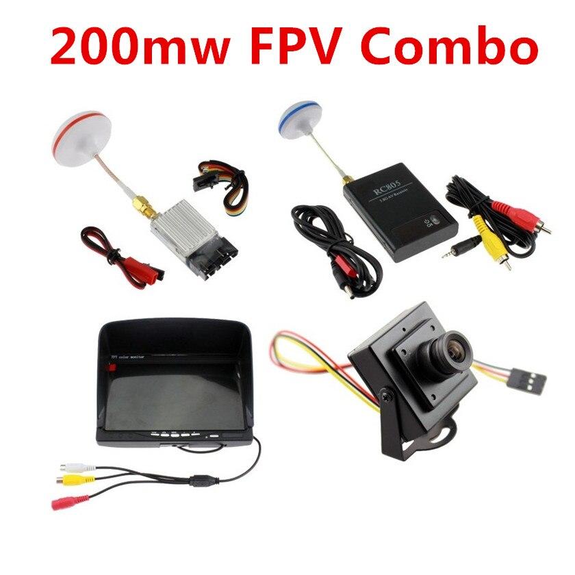 FPV Kit COMBO 5.8 Ghz 200 mw Vidéo Audio Émetteur Récepteur FPV Moniteur  700TVL Caméra CCTV Gopro QAV250 Walkera DJI Phantom 58fc9626fe88