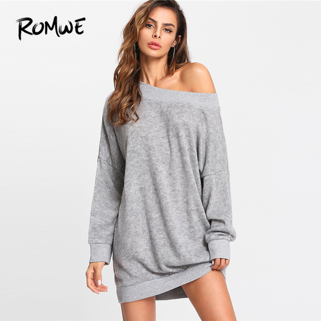 b22067b7ec2d ROMWE Grey Off Shoulder Marled Knit Sweater Dress Women Casual Autumn Plain  Long Sleeve Clothing Female