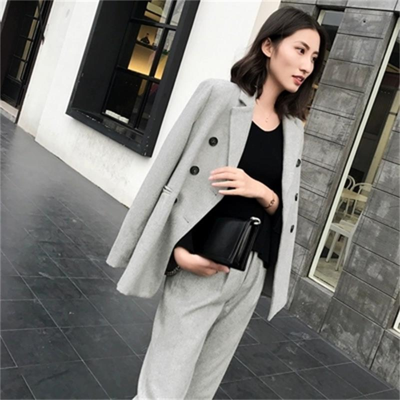 Leisure Suit Suit Female Spring Winter New High Quality Double-breasted Woolen Suit Coat + Pants Loose Two-piece Suit Women