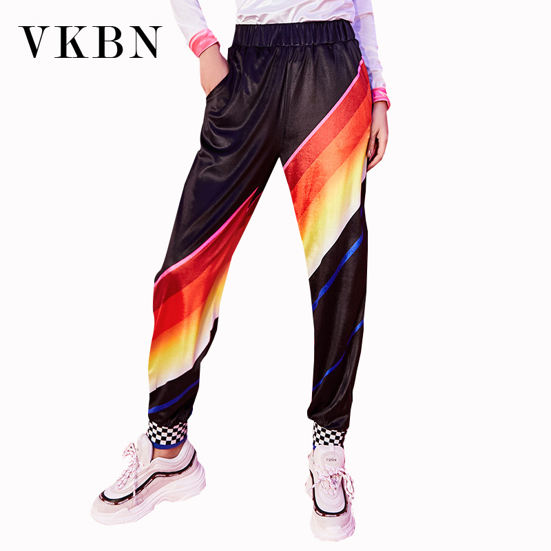 Vkbn 2019 Autumn Rainbow Pants Women New Motion Leisure Girl Easy Thin Nine Part Haren Pants