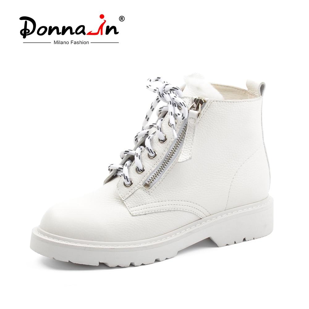 Donna-en Hiver Martin Bottes Femmes Plate-Forme Cheville Bottes Talons Blanc Moto Punk Bottines de Fourrure Lacent Neige Chaussures pour Dames