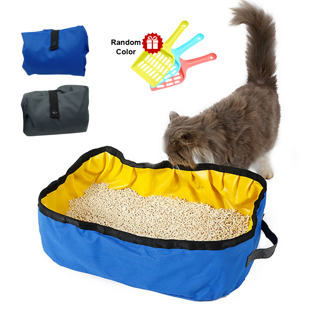 New Cat Toilet Tray Bedpans Portable Cat Litter Box Foldable Oxford Kitten Toilet Cleanness For Cats With Free Cat Litter Shovel