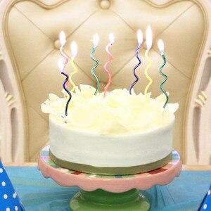 Image 1 - Bougies à gâteau courbe colorées 8 pièces/lot