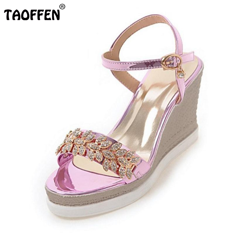 TAOFFEN Size 32-43 Lady Wedges Sandals Women Platform Ankle Strap Open Toe Shoes Crystal Flower Casual Female Sexy Footwear elegant wedges open toe women sandals ankle buckle rivet shoe women cross tied women casual shoes rome hollowed out lady sandals