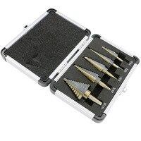 5pcs Set HSS COBALT MULTIPLE HOLE 50 Sizes STEP DRILL BIT SET W Aluminum Case