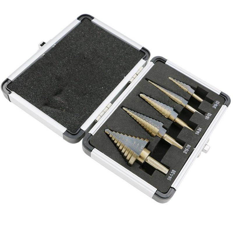5pcs / Set HSS COBALT MULTIPLE HOLE 50 Sizes STEP DRILL BIT SET w / Aluminum Case 5pcs set hss cobalt multiple hole 50