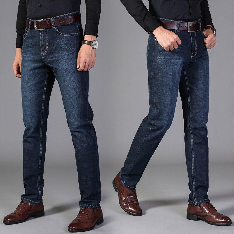 2019Vomint Pants Men's Casual Cotton Autumn Denim Straight Cotton Loose Work Long Pants Jeans Blue Black Pants
