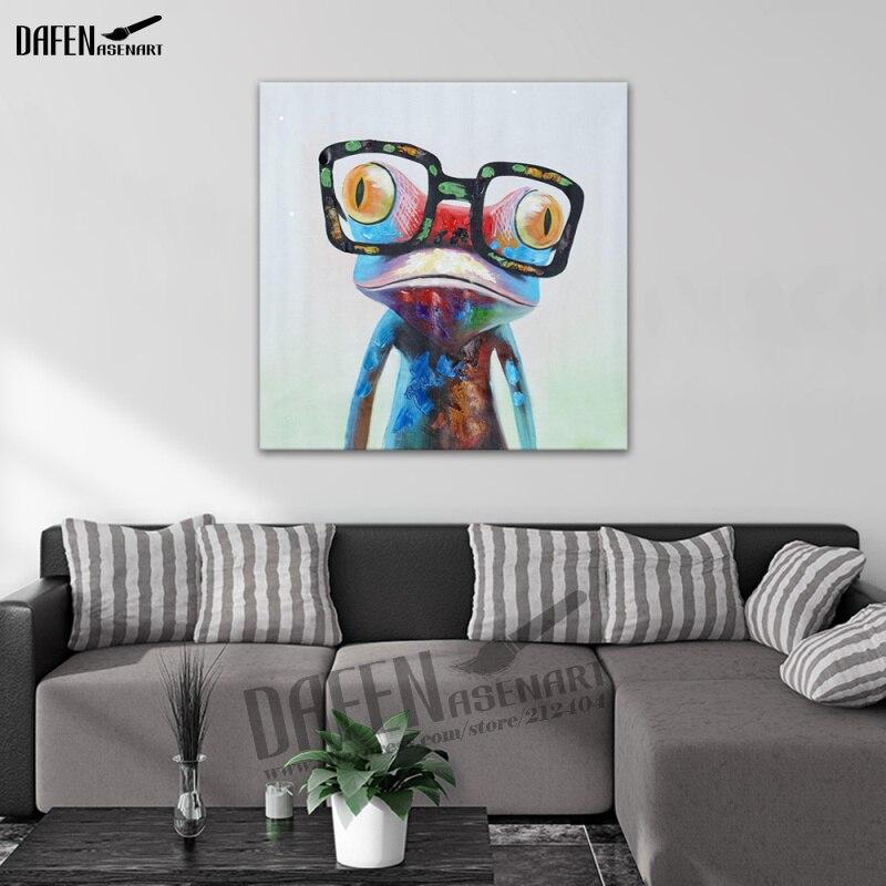 Moderna Groda Bär Glasögon Tecknad Djur Handmålad Oljemålning - Heminredning