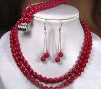 Urocze 2015 Moda Piękne Gorące 2 rzędy czerwony koral naszyjnik bransoletka kolczyki zestaw Biżuterii Projekt sprzedaży Hurtowej i detalicznej