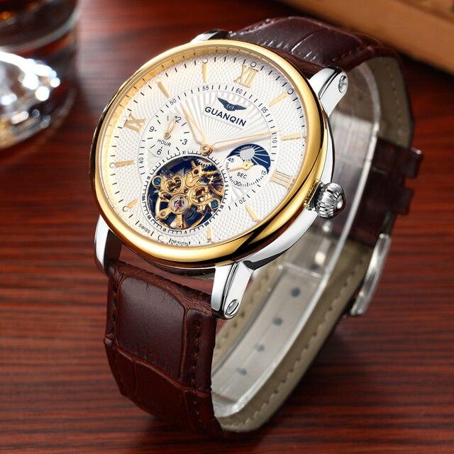2018 moda guanqin masculino relógios de luxo marca superior esqueleto relógio masculino esporte couro tourbillon automático relógio pulso mecânico 1