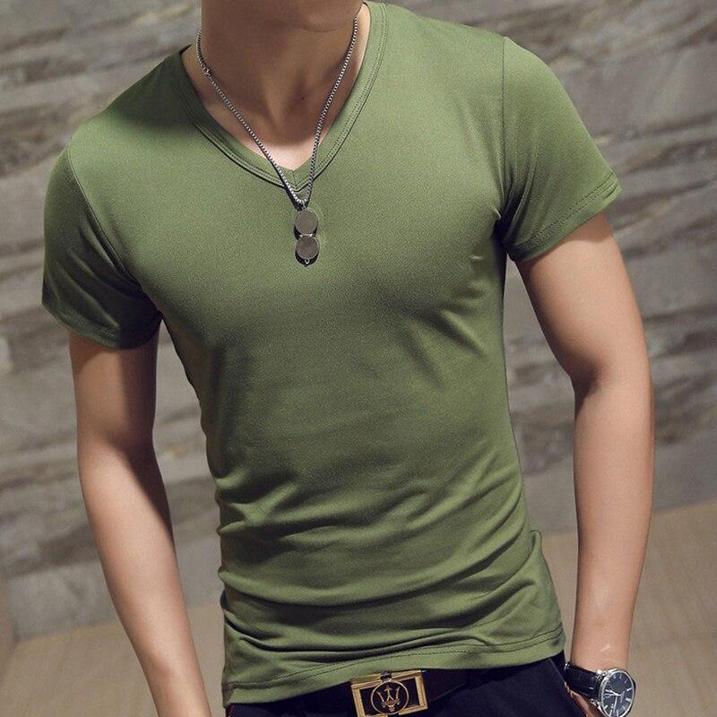 BORRUICE Comfortable Casual Summer Short-Sleeved Mens T-shirt Solid Color Slim T-shirt Dress Slim Shirt Mens T-shirt