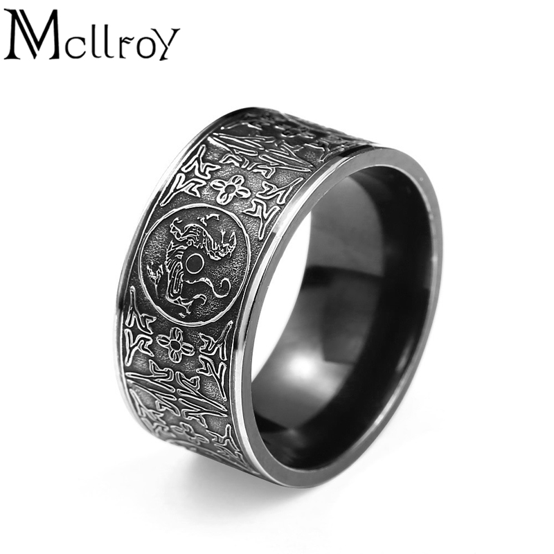 Mcllroy Classic Rings Men ring Four corner Mythical Dragon Greek symbols Retro Titanium steel Male Gift Punk aneis viking