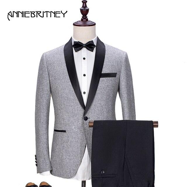 76e56025cdb9 2018 New Brand Light Grey Tweed Suit Men Groom Tuxedo Blazer Slim Fit 2  Piece Prom Men Wedding Suits Terno Masculino jacket+Pant