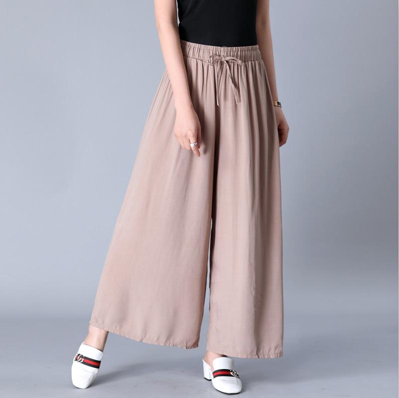 New 2019 Summer women Comfortable cool thin   wide     leg     pants  ,Brand plus size cotton linen   pants  ,casual skirt Trousers 5xl 6xl 7xl