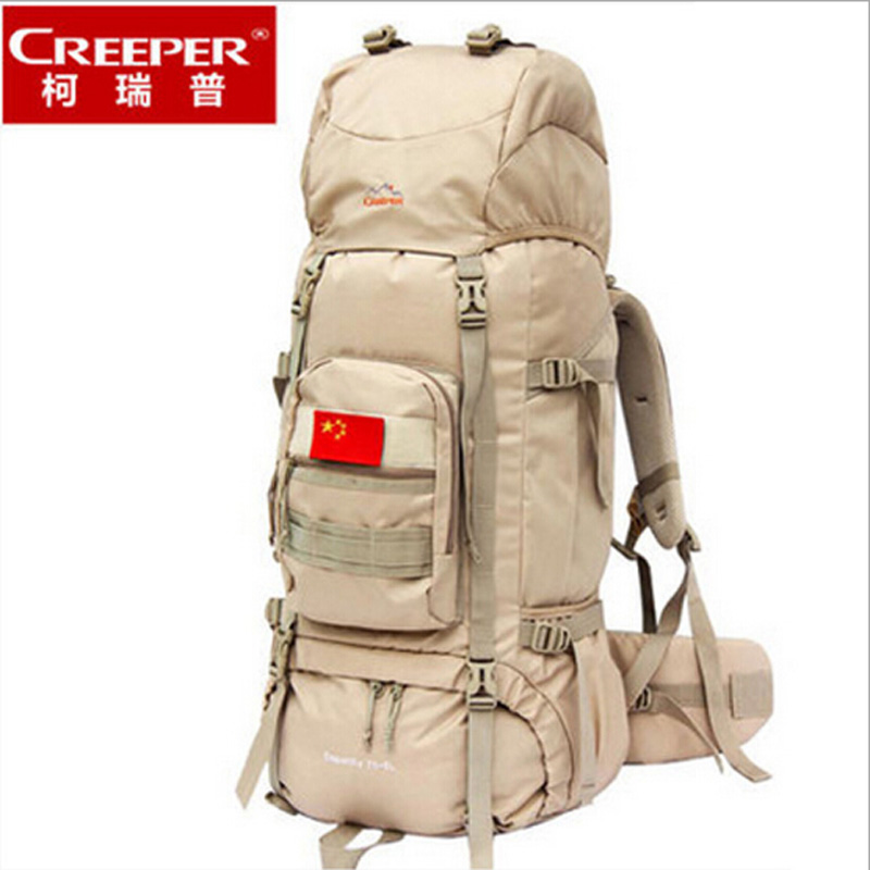 Creeper brand 75L backpack High quality 600D oxford waterproof backpack black large capacity backpack black and