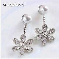 Mossovy After Five-leaf Flower Wearing Silver Drop Earrings for Female Korean Cubic Zirconia Jewelry Earring for Women Brincos