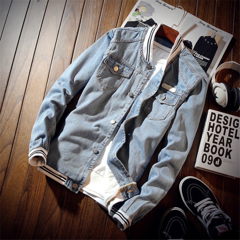 2019 Spring Denim Jacket  Mens Retro Slim Fit  Jean Coat Men Fashion Autumn Casual Bomber Jacket Streetwear Ds50309