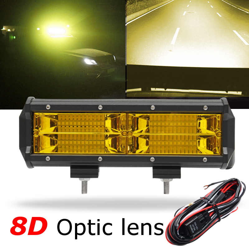 Yellow 7 Inch 216W LED Work Light Led Bar Lights Driving Fog Light +Wiring Harness for Jeep Boat 4WD Off-road SUV UTV ATV