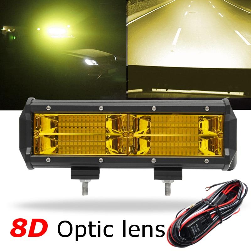 Yellow 7 Inch 216W LED Work Light Led Bar Lights Driving Fog Light +Wiring Harness for Jeep Boat 4WD Off-road SUV UTV ATV