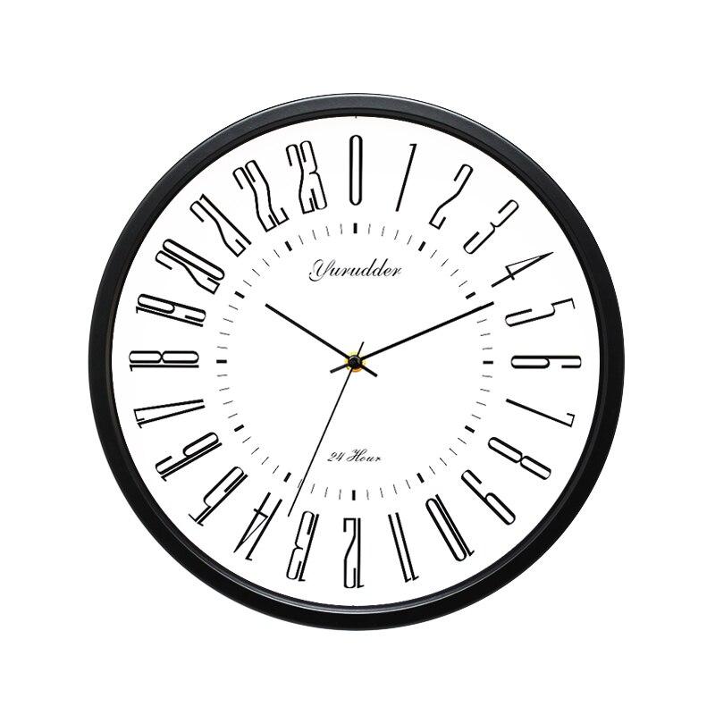 Новые 24 часовым циферблатом Дизайн 2 Гостиная 12 дюйм(ов) металла Рамки современная мода декоративные круглые Настенные часы