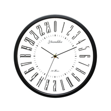 Horloge murale ronde décorative moderne avec cadre métallique de 12 pouces, 2 modèles avec cadran de 24 heures pour salon, nouveau modèle