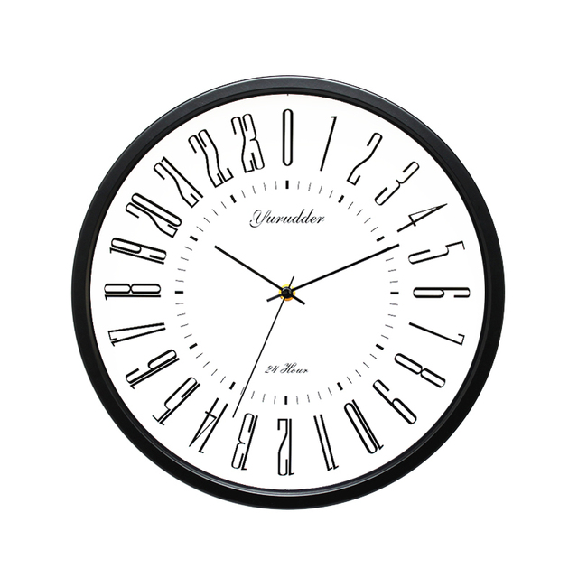 Newest 24 Hour Dial Design 2 Living Room 12 Inches Metal Frame Modern Fashion Decorative Round Wall clock