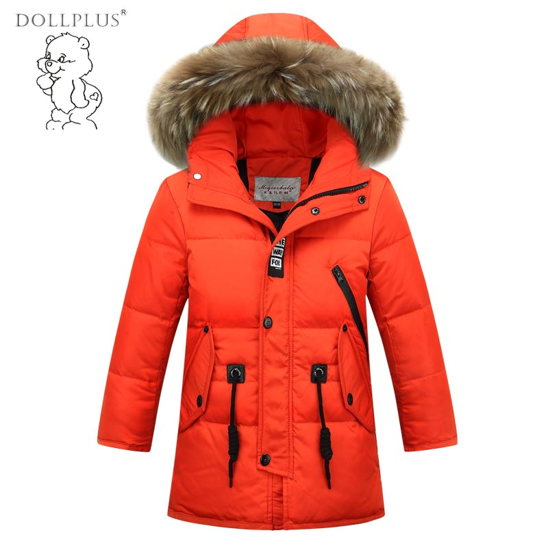 2017 Children'S Winter Jackets For Boys Down jacket Long Thick Boy Winter Coat Down Kids Outerwear Fur Collar Big Kids Clothing ободок adress