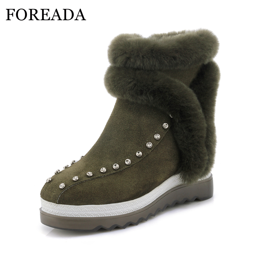 FOREADA Genuine Leather Boots Studded Winter Snow Boots Real Rabbit Fur Platform Wedge Heel Ankle Boots Warm Black Leather Shoes keaiqianjin woman studded snow boots pink black winter genuine leather flat shoes flower platform fur crystal ankle boot 2017