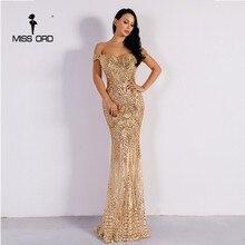 Missord сексуальный бюстгальтер вечернее платье с блестками Макси платье FT4912