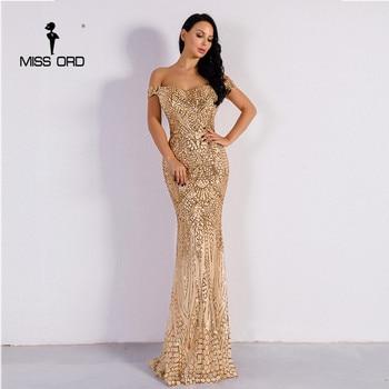Missord 2020 Summer Sexy Bra Party Dress Sequin Maxi Dress Off the Shoulder Bodycon Elegant Wedding Women Dresses FT4912 printing off the shoulder flounce dress